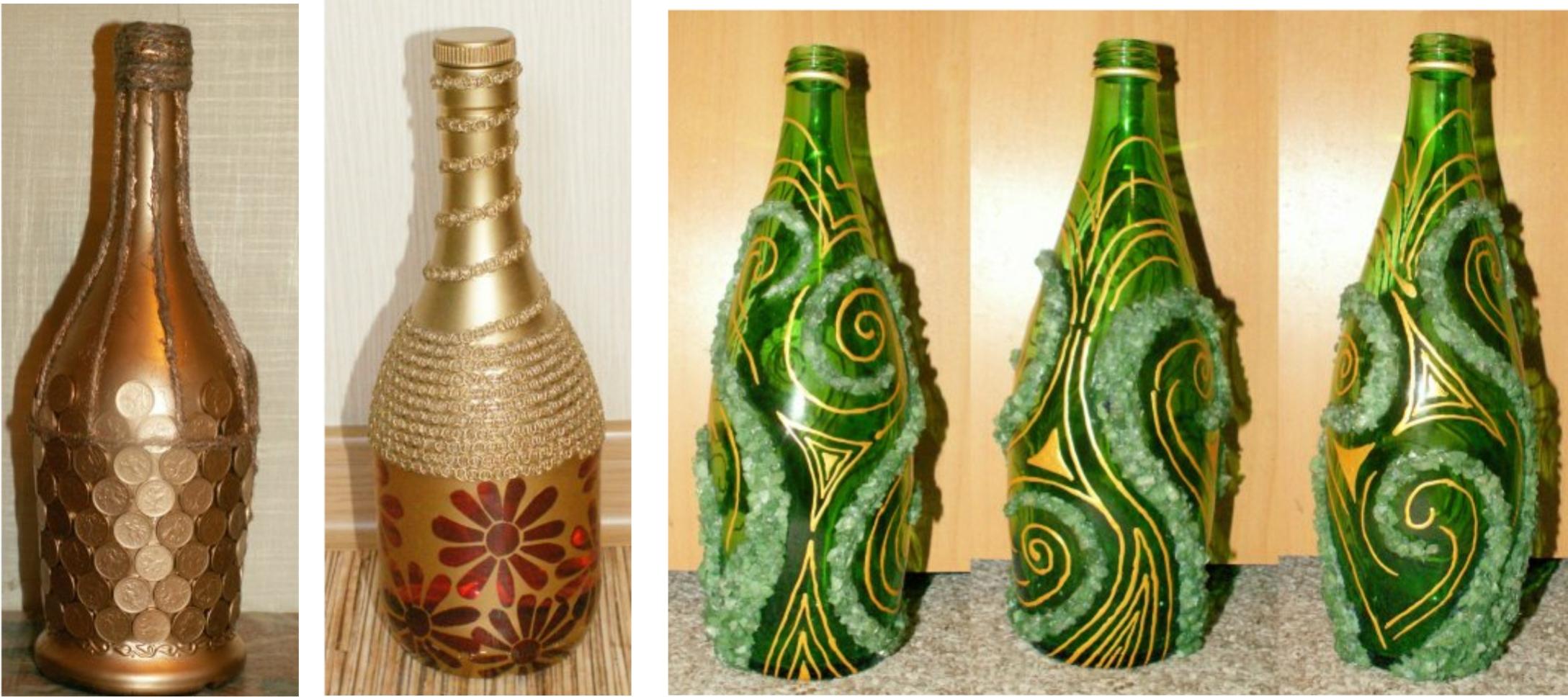 Как декорировать бутылки своими руками 890